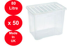 50 x 80 LITRE PLASTIC STORAGE BOX STRONG BOX USEFUL CLEAR LID EXTRA LARGE X 50!!