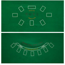 "2-Sided 36""x72"" Blackjack and Texas Hold'em Casino Tabletop Felt Layout Mat"