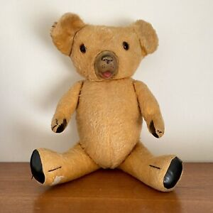 Vintage MOHAIR? Fully JOINTED Teddy BEAR Glass EYES Rubber SNOUT 50cm Tall