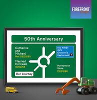 RETRO MOTORWAY SIGN PRINT Personalised, PERFECT Anniversary/Engagement present!