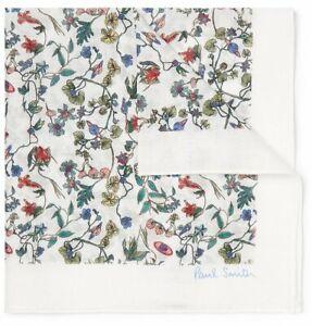 Paul Smith Pocket Square Handkerchief - BNWT White Floral Cotton-Voile RRP: £50
