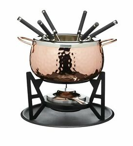 Artesa Fondue Set with Hammered Copper Finish in Gift Box, Stainless Steel