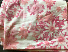 Vtg FASHION MANOR JC PENNEY PINK FLORAL SHEET Double/Full Flat Muslin Chic Boho