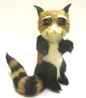 Vintage Raccoon Lemur Real Fur Handmade Furry Animal Figurine Toy