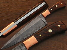 Handmade Damascus Copper Guard Chef Knife Buffalo Horn Handle (Limited Edition)
