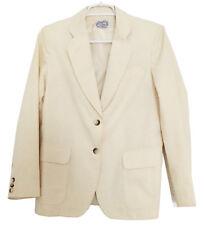 THE VILLAGER Vintage Women's Blazer Jacket White Linen Lined Belted Back Sz 10