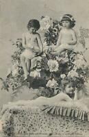 VINTAGE 3 SEMI-NAKED YOUNG GIRLS POSTCARD Series 34 Buds & Flowers Kerry Sydney