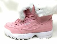 Fila Big Girls Disruptor Shearling Fold Over Winter Boots Pink White Size 3
