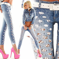 Sexy Women's Light Skinny Blue Jeans Ladies White Lace Size 6 8 10 12 14 S M L