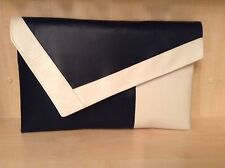 OVER SIZED WHITE & NAVY BLUE faux leather clutch bag. Made in the UK