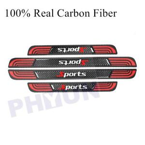 4PC Rubber+ Real Carbon Fiber Car Door Scuff Sill Cover Panel Step Protector