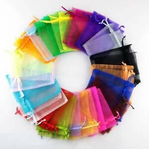 100pcs Solid Organza Gift Bags Pouches Wedding Favors 5x7 7x9 9x12 11x16 13x18cm