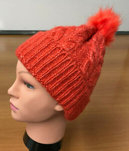 M&S Ladies' Knitted Beanie Hat. One Size Rustic Orange Cabel Knit RRP £12.50