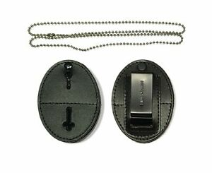 Universal Shield Leather Badge Holder With Free Neck Chain Exclusive Black
