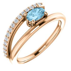 Aquamarine & 1/8 CTW Diamond Bypass Ring In 14K Rose Gold