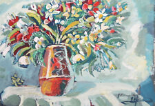 1997 European oil painting still life with flowers signed