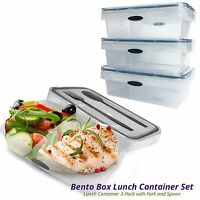 2-Compartment Bento Lunch Box Food Container 3-Pack, Microwave Dishwasher Safe