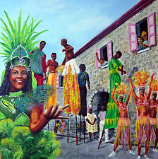Painting by Carlo: Caribbean Stiltwalkers in a Caribbean Style