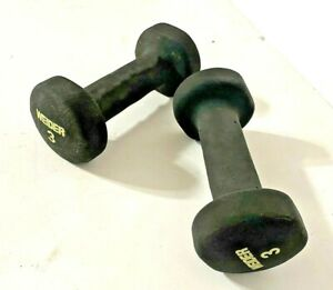 Pair of Black Weider Sporting Goods 3lb. Rubber Coated Dumbbell Training Weights
