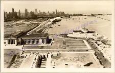 1932 Chicago Grant Park Shedd Aquarium Lake Shore Birds Eye Real Photo Postcard