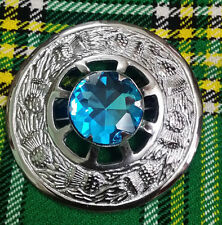 "Traditional Scottish Kilt Fly Plaid Brooch Sky Blue Stone Chrome Finish 3""/Metal"