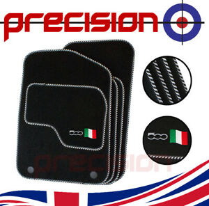 Fitted Tailored Car Mats with 500 Logo & Silver Twist for Fiat 500 2013-2020
