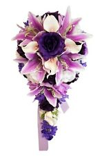 Cascade Bridal bouquet-Purple,Lavender,white.Rose Real touch calla lily