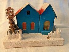 Antique Vintage Cardboard Frosted Blue Putz House Christmas Village Japan #2