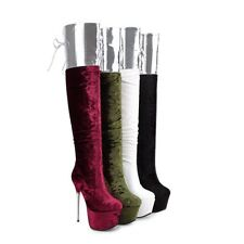 Women's Zip Velvet Lace-Up Over Knee Boots High Heel Platform Shoes UK Size O121