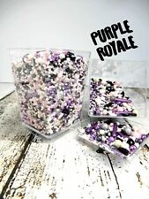 45g PURPLE ROYALE CUP CAKE DELUXE SPRINKLES PINK WHITE BLACK SILVER DECORATION