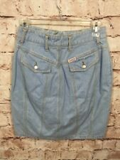 Vintage Guess Jeans Light Blue Denim Skirt Size 28 High Waist Mini Knee Length