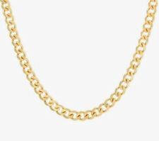 Italian 10K Yellow Gold Solid Cuban Curb Chain Necklace 20 Inch