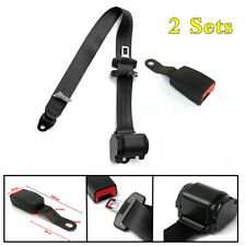 3 Point Retractable Car Safety Seat Lap & Diagonal Belt Adjustable Kit 2 Set
