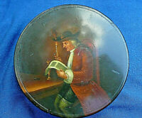 TOP QUALITY COMICAL EARLY 19th c ANTIQUE PAPIER MACHE CIRCULAR SNUFF BOX