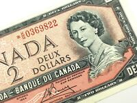 1954 Canada 2 Dollar Circulated KG Replacement Lawson Bouey Banknote R168