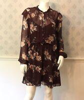 Women's Intermix Silk Brown Floral Ruffled Long Sleeve Short Dress