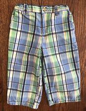 Hartstrings Baby Boy 12m Pastel Plaid Pants Preppy Cotton Adjustable Waist EUC