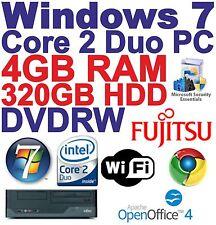 Windows 7 Core 2 DUO Desktop PC Computer - 4GB RAM - 320GB HDD-DVD-RW-Wi - Fi,