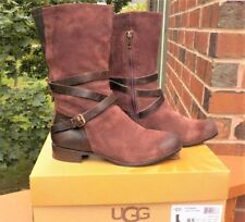 NWB UGG Deanna Suede Leather Deep Bordeaux Mid-Calf Boot WOMEN'S Size 9.5
