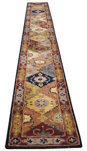Safavieh Heritage 100% Wool Pile Red Geometric Rug Runner India Vintage 20'