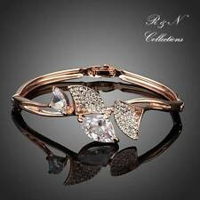Four Flabellums 18K Rose Gold Plated Clear Swiss Cubic Zirconia Bangle (B398-25)