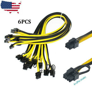 6Pcs 50cm GPU Power Cable For Graphic Cards 6 Pin PCI-e To 8 Pin (6+2) HP Server