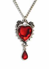 Gothic Romance Red Heart Crystal In Thorns and Roses Pendant Necklace NK-677