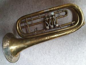 "große alte Basstrompete  basstrumpet trumpet ""F. Lukavec"""