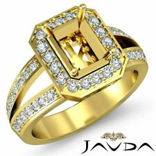 Pave Set Diamond Engagement Semi-mount Ring in 18k Yellow Gold
