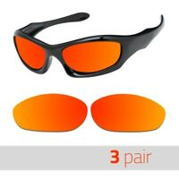 3 Pair Optico Replacement Polarized Lenses for Oakley Monsterdog Sunglasses Red