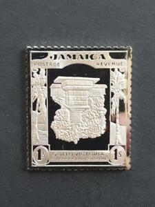 JAMAICA-1920-1 SH INVERTED-STAMP INGOT-HALLMARKED STERLING SILVER-STUNNING-16g