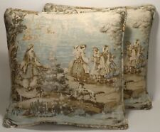 """2 18"""" French Country Toile Bosporus Flax Green Decorative Throw Pillow Covers"""