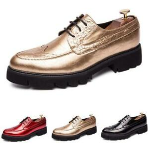 Oxfords Men's Fashion Leather Shoes Lace up Party Non-slip Clubwear Breathable