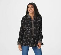 Isaac Mizrahi Live! Floral Printed Button Front Blouse (Black, 18P) A367689